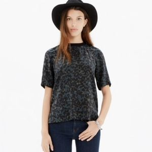 Madewell Silk Front Row Tee in Med Inkspot Leopard